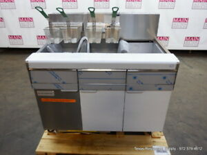 New Frymaster Gas Double 50 Lbs Deep Fryer With Dump Station Filtration System