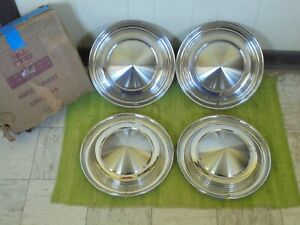 Nos 62 63 Mercury Hubcaps 14 Set Of 4 Merc Wheel Covers 1962 1963 Hub Caps