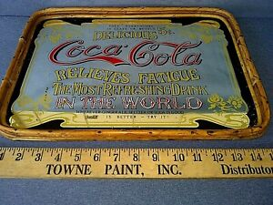 VINTAGE COCA-COLA MIRRORED ADVERTISING TRAY WITH BAMBOO FRAME.