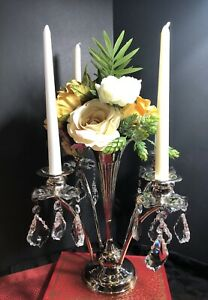 Vintage Silver Plated Epergne Art Nouveau Flower Candle Holders W Crystals Old