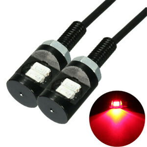 2pcs Red Led License Plate Screw Bolt Light Bulb 12v For Motorcycle Atv Utv Us