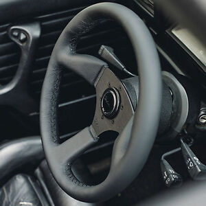 Viilante Leggera 350mm Steering Wheel Genuine Leather Black Stitch Fits Momo