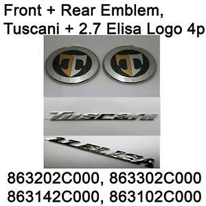 Genuine Front Rear Emblem Tuscani 2 7 Elisa Logo 4p Set For Hyundai Tuscani