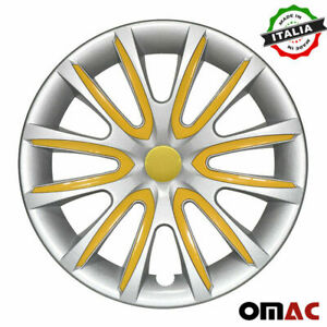 15 Inch Hubcaps Wheel Rim Cover Gray Yellow Insert 4pcs Set For Ford Fiesta