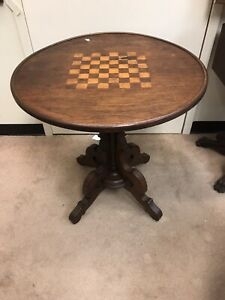 Rare Victorian 1880 Walnut Chess Board Games Table