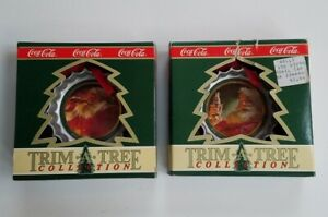 2 Coca Cola Trim A Tree Collection Santas & Bottle Caps Coke Ornaments In Boxes