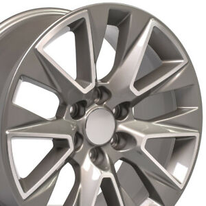 20 Rims Fit Chevy Silverado Ltz Silver Machined 20x9 Chevy Wheel Set 5919 W1x