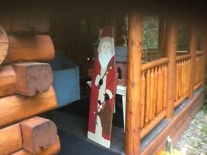 59 Tall Vintage Santa Made From Vintage Wooden Ironing Board Signed By Artist