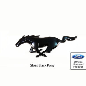 New 2015 21 Mustang Pony Rear Emblem Gloss Black Genuine Ford Licensed Oem