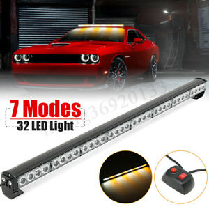 36 32 Led Emergency Warning Light Advisor Bar Dash Mount Flash Strobe Amber
