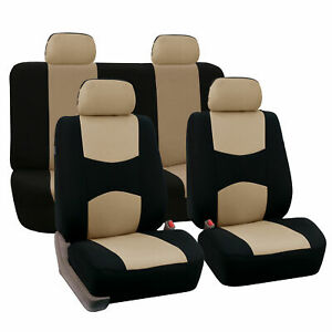 Auto Seat Cover For Car Truck Suv Van Universal Protectors Beige Black