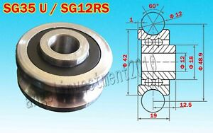 5pcs New Sg35 U Groove 12 42 19mm Sealed Ball Track Guide Bearing Textile