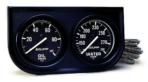 Auto Meter Autogage 2 Gauge Oil Press Water Temp Black Console 2 1 16 black