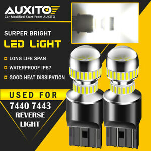 2x Auxito 7443 7440 Led Back Up Reverse Light Bulbs 6000k Super White 54h Ea