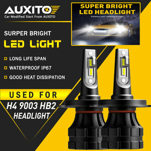 2x Auxito H4 9003 Led Headlight Bulbs Kit High Low Beam White 6000k 20000lm Z1 A