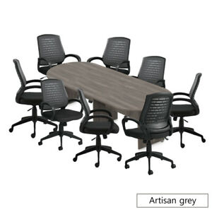 Gof 10 Ft Conference Table With 8 Chairs Artisan Grey 9 piece Table Set