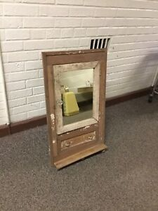 Antique Vtg Primitive Corner Medicine Cabinet Wood With Mirror Drawer 29 X 17
