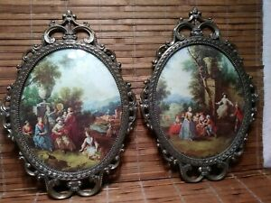 2 Vintage Victorian Metal Oval Pictures W Frames Made In Italy Bubble Glass