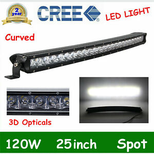 25 inch 120w Curved Led Work Light Bar Spot Offroad Slim Truck 4wd Single Row