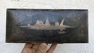 Vintage Niello Ware Siam Thailand Sterling Silver Cigar Card Wood Lined Box 414g