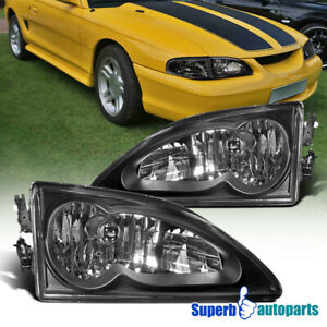 For 1994 1998 Ford Mustang Headlights Head Lamps Black Pair Replacement
