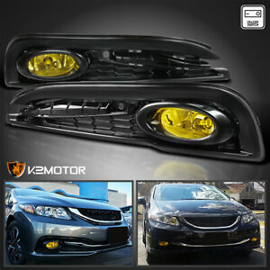 For 2013 2015 Honda Civic 4dr Sedan Yellow Bumper Driving Fog Lights switch L r