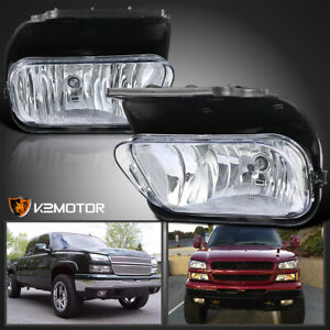 For 2003 2006 Chevy Silverado 1500 2500 3500 Clear Driving Fog Lights Lamp bulbs