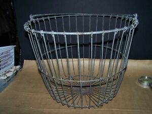 Antique Egg Basket Wire Vintage Chicken Farmhouse Metal Gathering Kitchen Mesh