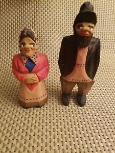 Carved Wooden Man And Woman Black Forest Style Figures