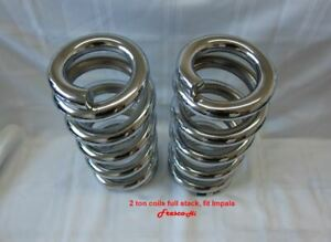 Lowrider Hydraulics 2 Ton Coils Full Stack Fit Chevy Impala 58 64 Chrome