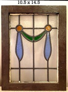 English Antique Victorian Stained Glass Window 10 5 X 14 5