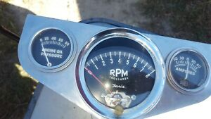 Vintage 1963 Faria Tach Oil And Amp Gauge Eelco Cluster