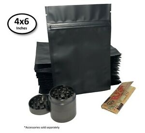 New Premium Matte Black Double sided Mylar Foil Zip Lock Storage Bags 4x6 50