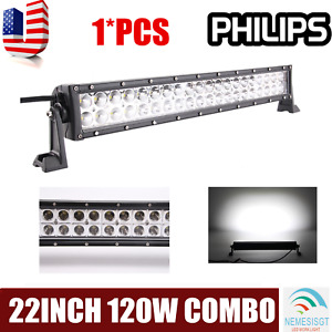 120w 22 Led Work Light Bar Combo Lamp Offroad Driving Boat Atv Ute Suv 4wd 24