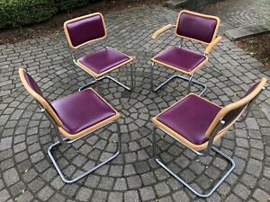 Mid Century Vintage Four Dining Chairs In Style Of Marcel Breuer