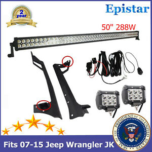 Bracket Fits 07 15 Jeep Wrangler Jk Windshield 288w 50 Led Work Light Bar Top