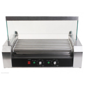 Roller Dog Commercial 18 Hot Dog Hotdog 7 Roller Grill Cooker Machine W Cover