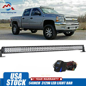 Curved 54inch Led Work Light Bar Fog Lights For 08 19 Chevy Silverado gmc Sierra