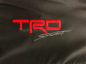 2016 2020 Toyota Tacoma Double Cab Alea Black Red Leather Seat Covers Logo Trd