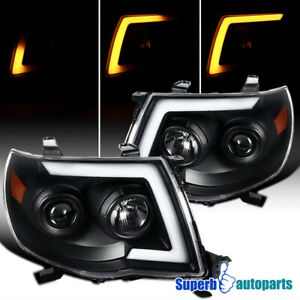 For 2005 2011 Tacoma Led Sequential Switchback Signal Black Projector Headlights