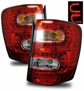 For 99 04 Jeep Grand Cherokee Red Clear Led Tail Light Rear Brake Lamp Housings