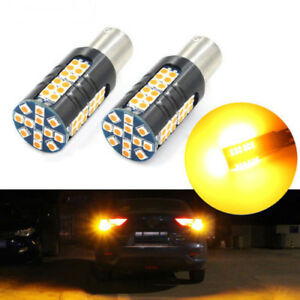 2x High Power Yellow 1156 Ba15s 60smd 3030chips Led Bulbs For Turn Signal Light