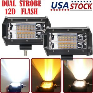 2x 5 Inch Work Cube Side Shooter Led Light Bar Pod White Amber Strobe Lamp Suv