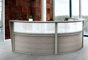 10 Ft Gray Double Reception Desk Rounded Reception Desk With Plexi Glass Window