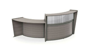 Gray Reception Desk With Ada Wheel Chair Accessible Lower Side Desk Or Counter