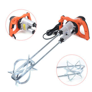Electric Mortar Mixer 1800w Dual High Low Gear 2 Speed Paint Cement Grout 110v