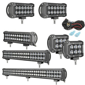 Led Light Bar Pods 4 7 12 20 30 inch Offroad Driving Lamp Spot Flood Fog Suv