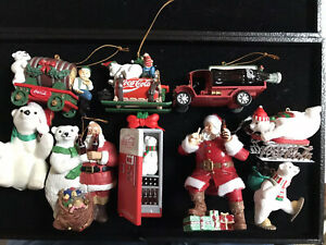 Lot of 9 Assorted Coca Cola Christmas Ornament Decorations~featuring Polar Bears