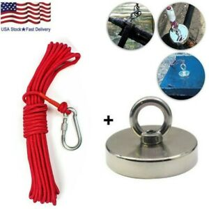 400 1300lbs Fishing Magnet Kit Strong Neodymium Pull Force W Rope Carabiner Us