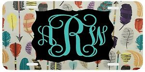 Personalized Monogrammed License Plate Arrow Feathers Car Tag Teal Mustard Gray